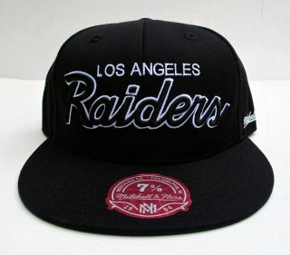 Los Angeles Raiders Black All Sizes Cap Hat by Mitchell Ness