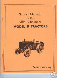 Allis Chalmers Model U Tractor Service Manual AC Zenith Carburetor F M