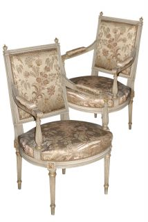 Pair of Jansen Stamped Louis XVI Silk Upholstered Arm Chairs