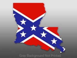 Louisiana Shaped Rebel Flag Sticker Decal La State US