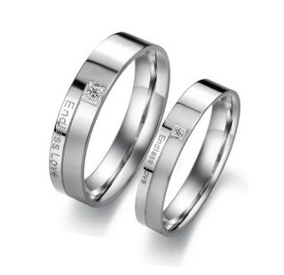 Steel Endless Love Engraved w CZ Wedding Band Couple Rings