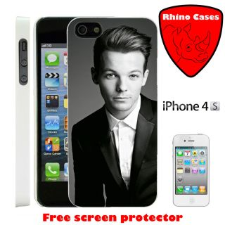 For iPhone 4 One Direction Louis Tomlinson Case Cover Screen Protector