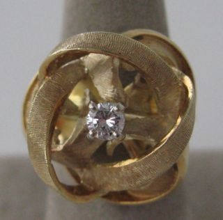 Vintage Florentine 14k Gold Diamond Love Knot Ring