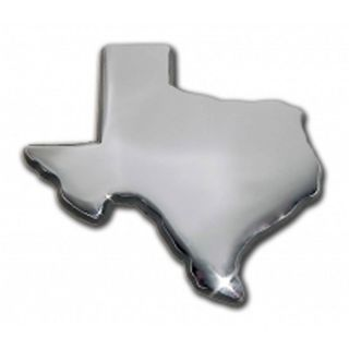 Texas Shape Lone Star State Emblem Real Metal Chrome Auto Decal Self