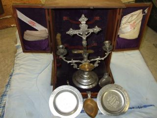 Preists COMMUNION Outfit Antique Box Candelabra Crucifix early 1900s