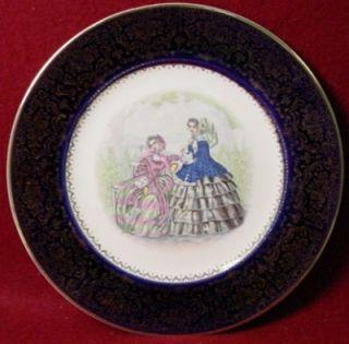 Salem China Godey Prints Dark Blue Service Plate 15