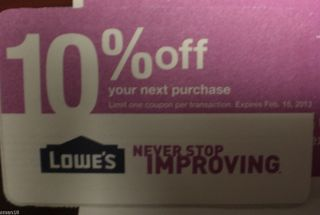 LOWES 10% OFF Home Improvement Coupon EXP 2/15/13~Use @ Home Depot
