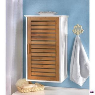 White Bath, Utility, Storage Wall Cabinet with Bambbo Louvered Door