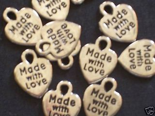 75 Made with Love Heart Charms Silver