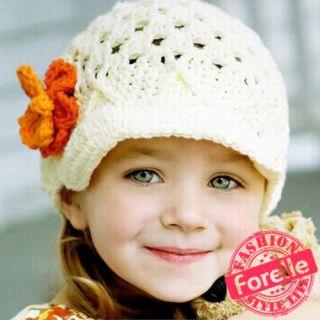 EEM04 Super Sweet Lovely Cute Baby Girl Beanie Flower Knit Crochet Hat