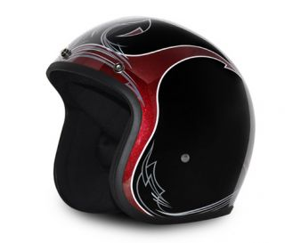 Low Profile Retro Cherry Black Pinstripe Bobber Chopper Open Face