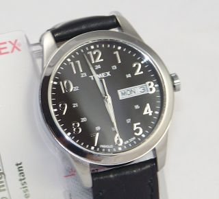 T2N107 Timex Mens Classics Watch DAY DATE INDIGLO Black Dial Leather