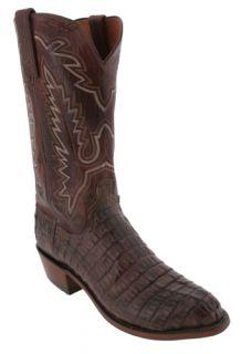 Lucchese Barrel Brown N9216 R4 Caiman Crocodile Mens Cowboy Boots