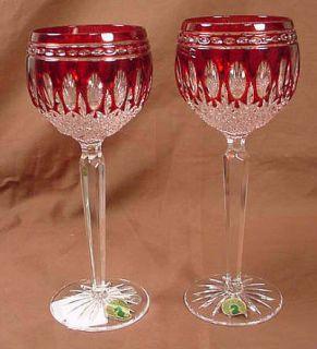 Waterford Ruby Red Wine Hocks Clarendon NIB