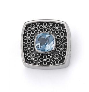 LORI BONN Chill Pill Slide Charm Bonn Bons Blue Topaz Sterling Silver