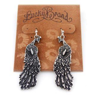 Lucky Brand Vintage Silver Tone Peacock Drop Dangle Earrings