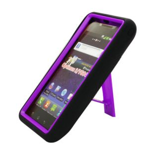 For LG Lucid 4G Impact Hard Rubber Case Phone Cover with Kick Stand