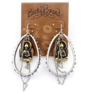 Lucky Brand Vintage Silver Tone Buddha Fringe Drop Dangle Earrings