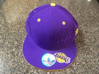 Adidas NBA Watermark Fitted Hat Los Angeles Lakers $35 Cap La