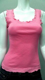 Lucy Love Junior S Cotton Tank Top Pink Ruffle Sleeveless Shirt Blouse