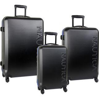 Nautica Ahoy Hardside Spinner 3 Piece Luggage Set Black Blue $1040