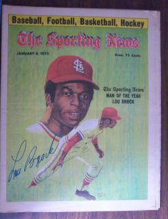 Lou Brock Autographed Sporting News January 4 1975