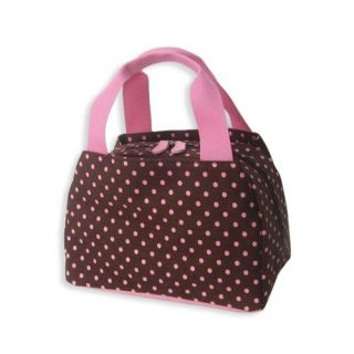 Brown Pink Polka Dot Insulated Lunch Box Snack Bag Tote