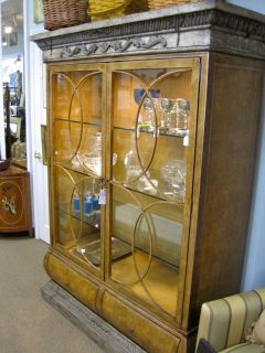 LOUIS XIV STYLE LIGHTED LARGE DISPLAY CABINET CASE BUFFET LILIAN