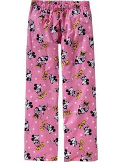 Mickey Minnie Mouse Pajamas Lounge Pants Pink Print Cotton