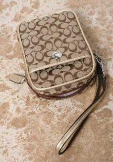 79 Coach Wristlet Wallet Camera Bag iPhone Case Brown Khaki Signature
