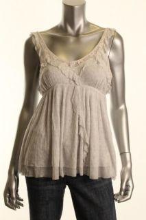 Free People NEW Lovely Lady Gray Pattern Ruffled Shirt Modal Tank Top