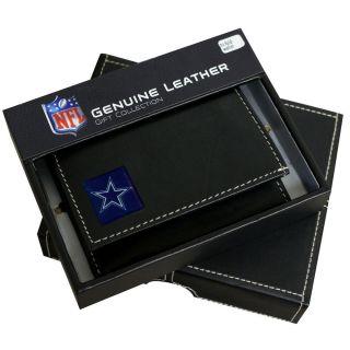 New Dallas Cowboys Genuine Leather Tri Fold Wallet Black NFL Football