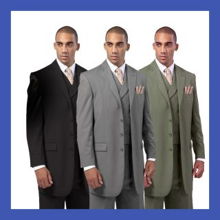 Mens Luxurious Wool Feel Back Center Split 3pc Suits Black Gray Olive