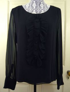 NWT J. CREW WOMENS 100% SILK LOULOU BLOUSE PLEATED BUTTON FRONT BLACK