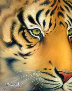 Original Oil Painting Tiger Eyes Big Cat Kitty Animal Face Jungle Lusk