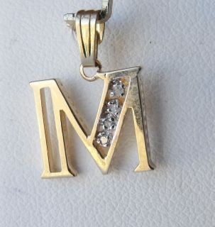 14k Yellow Gold Diamond Letter M Charm Pendant 1 1gr