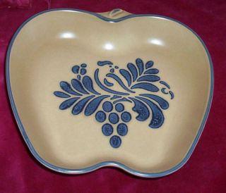 Folk Art Baker Apple Shaped Dish Bowl Serving Bird Design