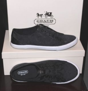 NEW Coach LUCEY Black Signature NO LACE Slip On Fashion Sneakers Shoes
