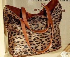 Brown Animal Print Reversible Leather Tote bag Shopper Handbag Inner