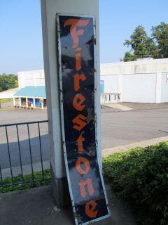 """Firestone Porcelain on Metal Sign Large 96"""" x 16"""" – Antique"""
