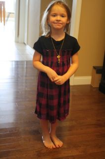Mad Style Cute Girls Size L 10 12 Dress w Necklace