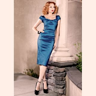 Dress Billion Dollar Baby Aqua Metallic Blue Mad Men Style New