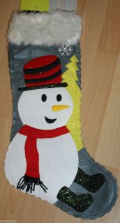 Holiday Christmas Macys Gray Snowman Stocking Made with Felt 22 Inch
