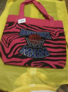 Bling Multi color Basketball mom Handbag or Totes Hot pink black Zebra