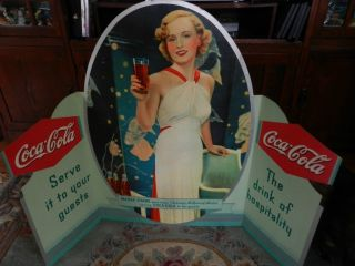 RARE Large Coca Cola Madge Evans Sign
