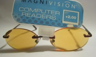 Magnivision Computer Reading Glasses 2 00 Oval Rimless