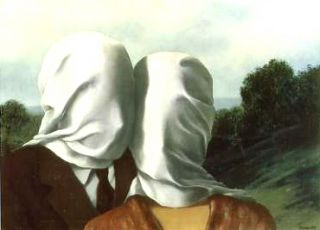 POSTCARD RENE MAGRITTE Lovers 1928 Les Amants Surrealism Man Woman