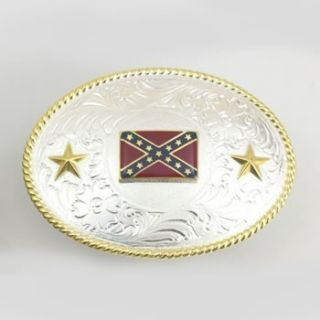Western Silver and Gold Belt Buckle Rebel Flag