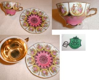 Rare Old STW Bavaria Germany Bone China Courting Couple Cup & Saucer