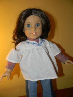 American Girl Doll Blue Eyes and Brown Hair Dressed